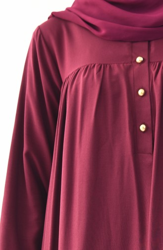 Düğmeli Elbise 1195-01 Vişne