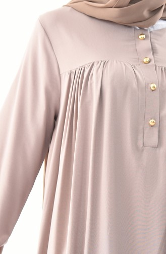 Düğmeli Elbise 1195-06 Vizon