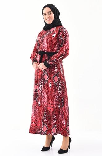 Büyük Beden Desenli Viskon Elbise 4477A-02 Bordo