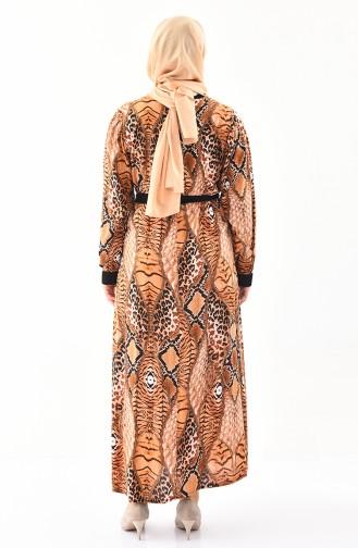فستان فيسكوز بتصميم مُطبع وبمقاسات كبيرة 4477A-04 لون اصفر داكن 4477A-04