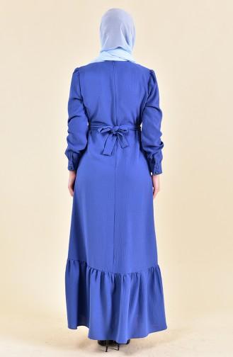 Button Detailed Pleated Dress 0124-03 İndigo 0124-03