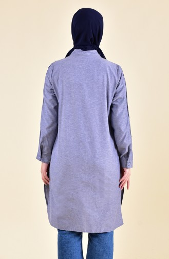 Embroidered Tunic 8224-09 Gray Navy Blue 8224-09