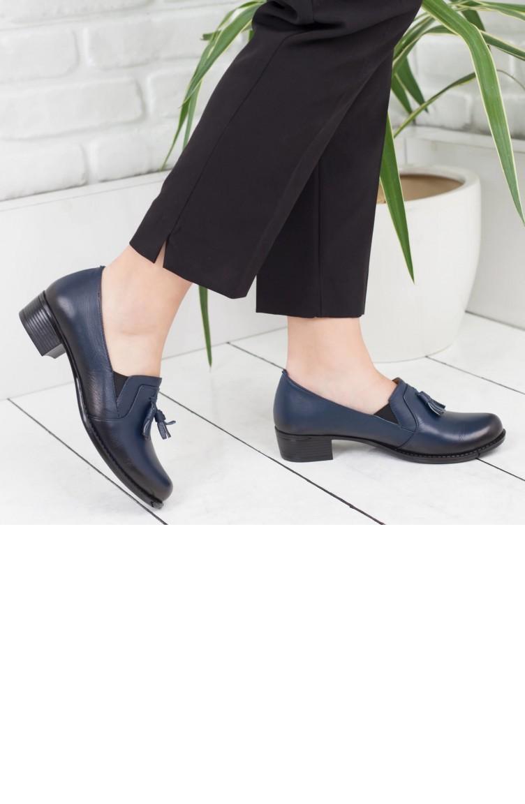 e66245d24 ديرميس حذاء نسائي بكعب عريض A172Ktrk0010007 لون كحلي جلد 172KTRK0010007