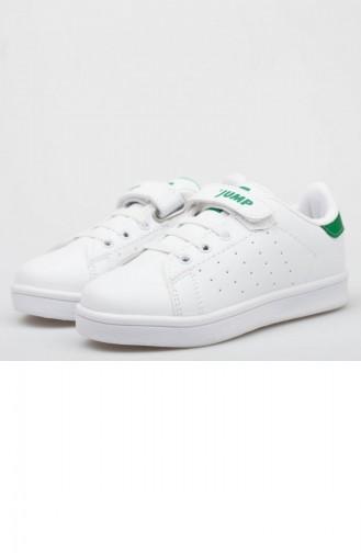 Jump Chaussures SPort Pour Enfant A19Pkjmp0008212 Blanc Vert Cuir 19PKJMP0008212