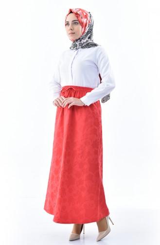 Waist Elastic Jacquard Skirt 1120A-01 Pomegranate Flower 1120A-01