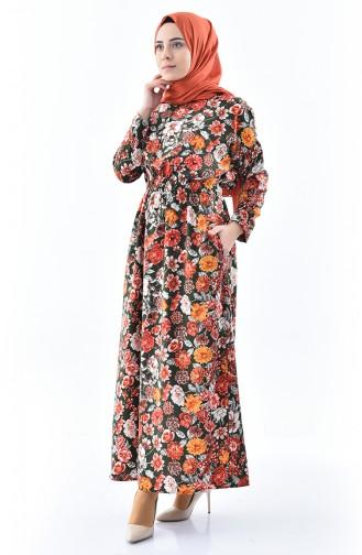Desenli Yazlık Elbise 2060-01 Haki