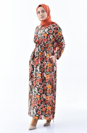 فستان صيفي بتصميم مُطبع 2060-01 لون كاكي 2060-01
