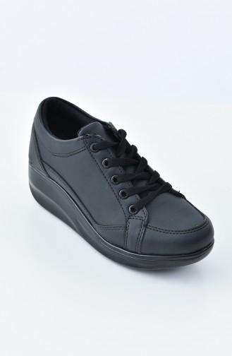 ALLFORCE Platform Sneakers 0107-05 Black Black Leather 0107-05