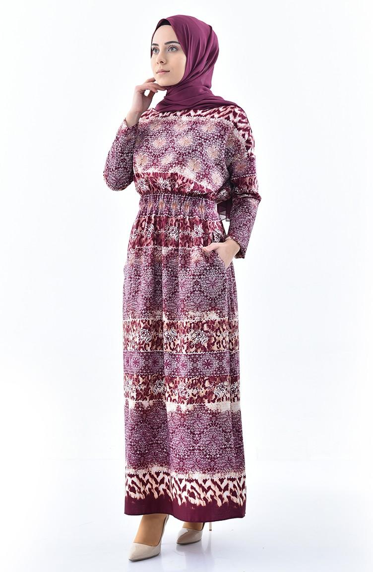 6b42d47abd21 Patterned Summer Dress 2059-01 Plum 2059-01