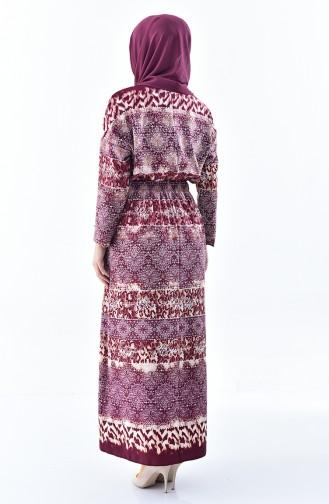 Patterned Summer Dress 2059-01 Plum 2059-01