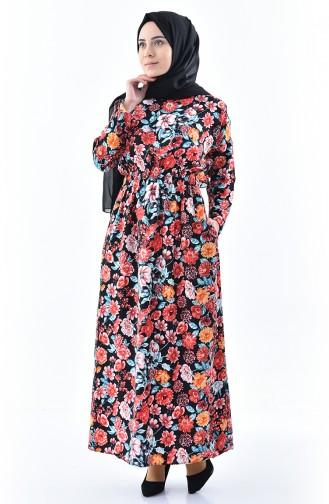 Patterned Summer Dress 2060-02 Black 2060-02