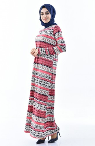 Desenli Elbise 99182E-01 Fuşya