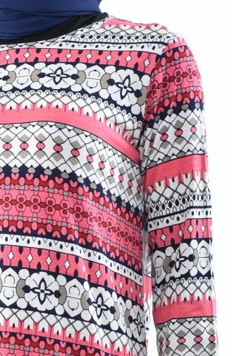 فستان كاجوال بتصميم مُطبع 99182E-01 لون فوشي 99182E-01