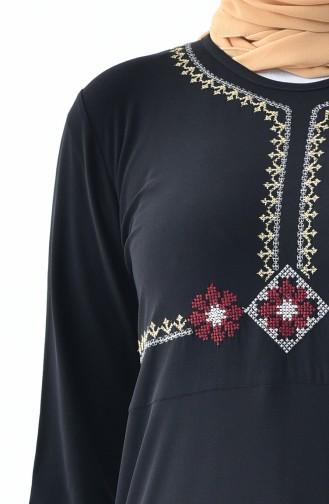 İşlemeli Sandy Elbise 9104-06 Siyah