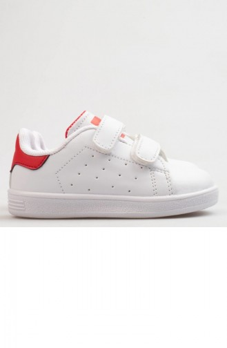 Jump Baby Shoes A19Byjmp0003095 White Red Leather 19BYJMP0003095