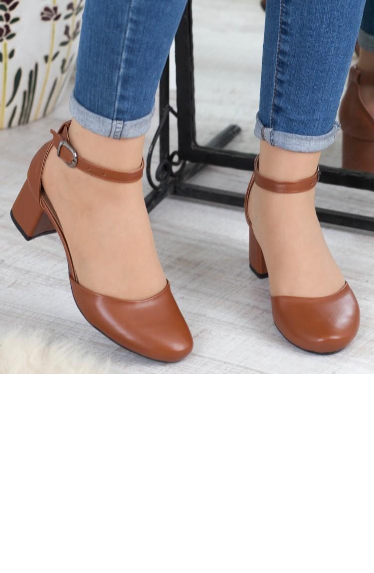 14107e75ee3fe Kadın Topuklu Ayakkabı A182Yakt0003004 Taba Deri