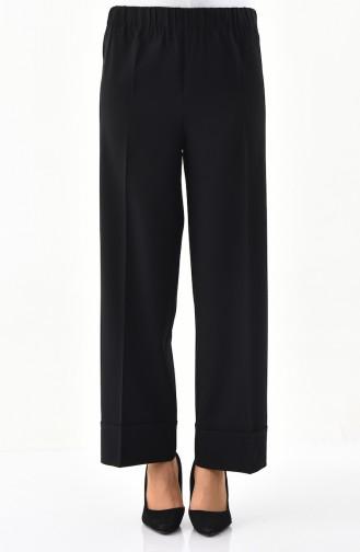 Lastikli Bol Paça Pantolon 1020-01 Siyah