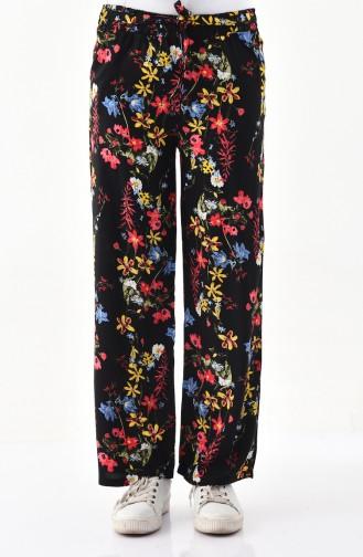 Pantalon Large a Motifs 0162B-01 Noir Corail 0162B-01