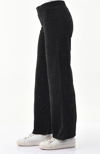 Simli Bol Paça Pantolon 0181-01 Siyah