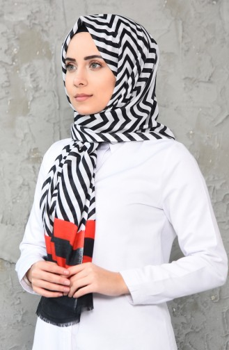 شال قطن بتصميم مُطبع 380-102 لون احمر واسود 380-102