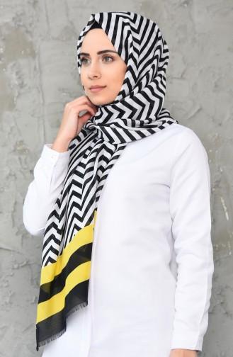 Trendy Desenli Pamuk Şal 380-105 Sarı Siyah 380-105