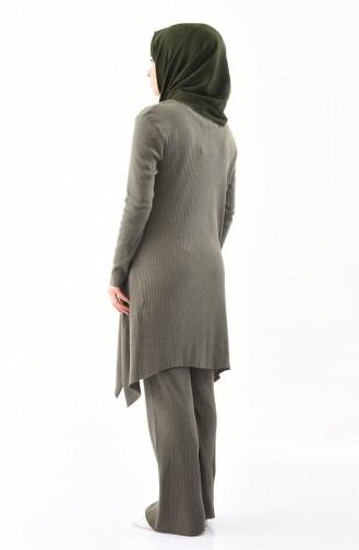 Fitilli Triko Tunik Pantolon İkili Takım 3309-12 Haki Yeşil