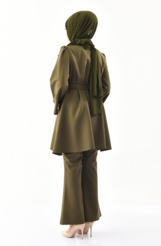 ZEN Belted Tunic Trousers Double Suit 0218-07 Dark Khaki 0218-07