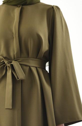 زين طقم بنطال و تونيك بتصميم حزام للخصر 0218-07 لون أخضر كاكي داكن 0218-07