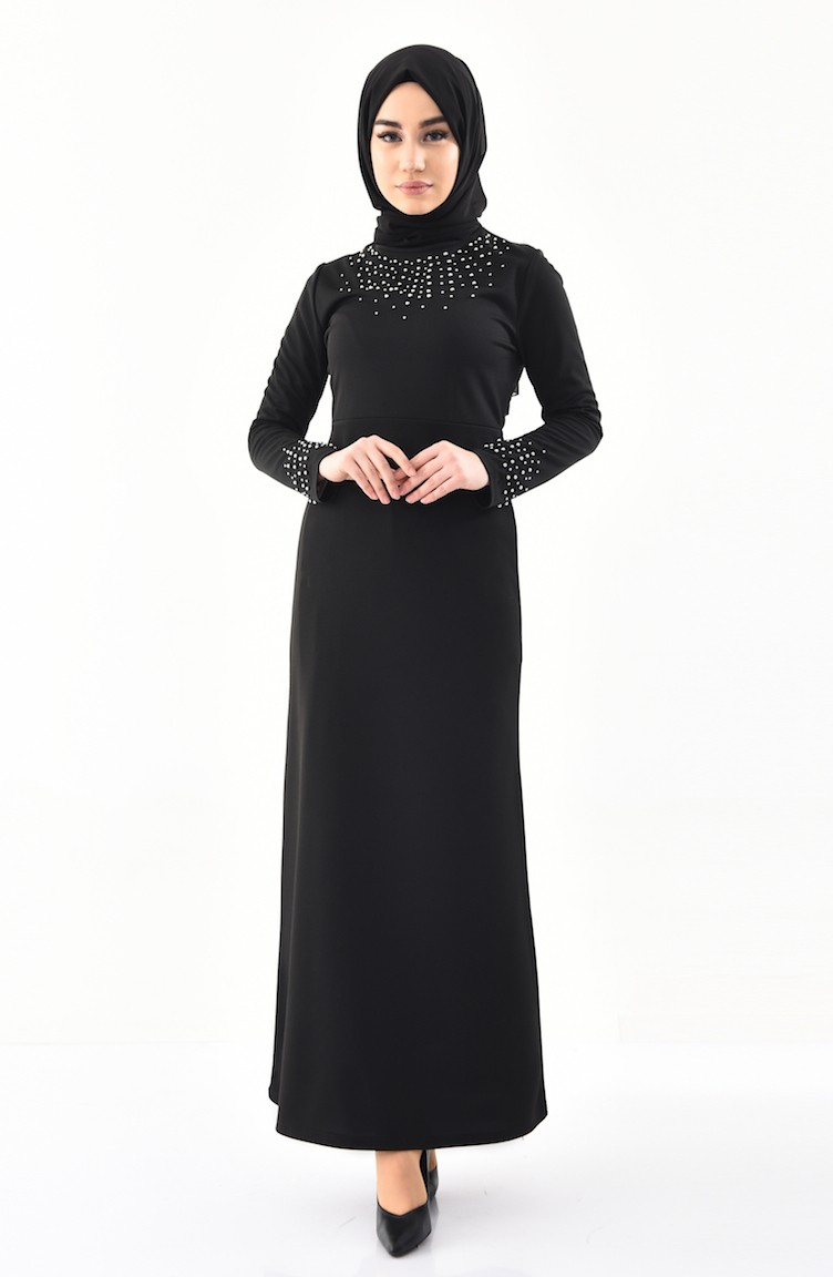 2f5535351ec30 İnci Detaylı Elbise 4005-05 Siyah