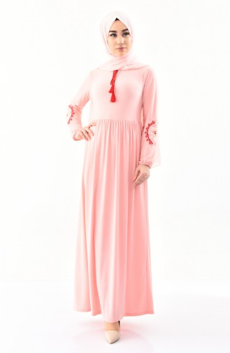 Kolu Nakışlı Elbise 4112-05 Somon
