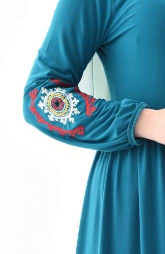 Robe Manches Brodée 4112-06 Turquoise 4112-06