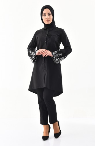 YNS Embroidered Asymmetric Tunic 4142-01 Black 4142-01