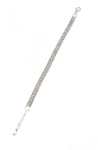 Gümüş Kaplama Kristal Taşlı Bileklik 08-0407-48-10-01 Gümüş