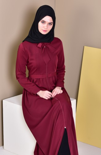 MISS VALLE  Pleated Zippered Abaya 9015-03 Bordeaux 9015-03