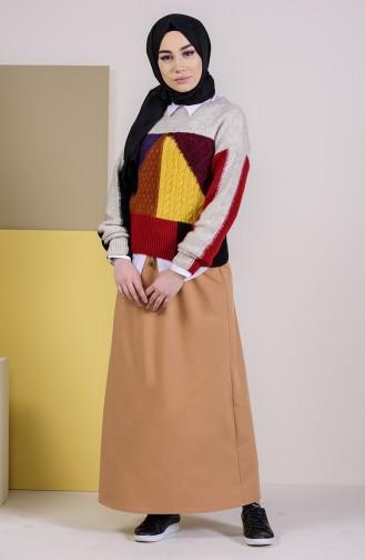 DURAN Elastic Waist Skirt 1201B-02 Camel 1201B-02
