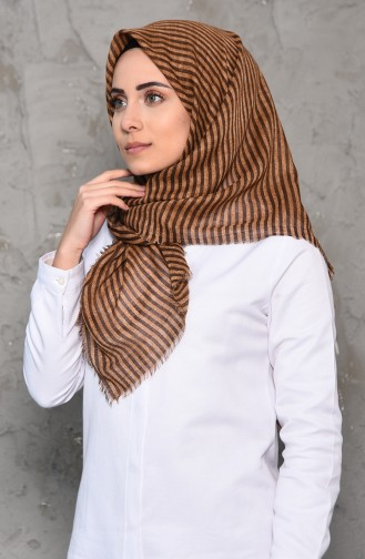 Striped Patterned Flamed Cotton Shawl 2199-02 dark Beige 2199-02
