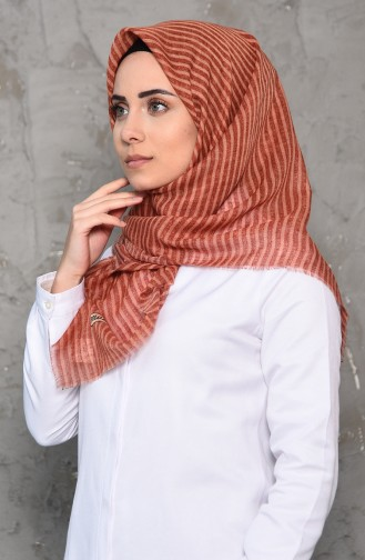 Striped Patterned Flamed Cotton Shawl 2199-04 Cinnamon 2199-04