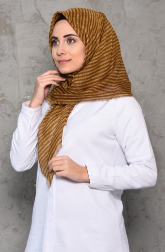 Striped Patterned Flamed Cotton Shawl 2199-06 Yellow 2199-06