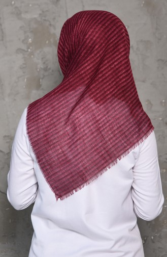 Striped Patterned Flamed Cotton Shawl 2199-09 Fuchsia 2199-09