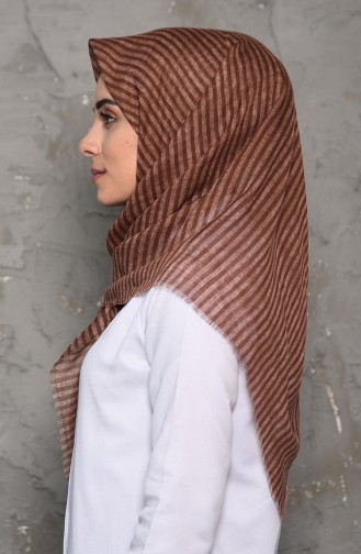 Striped Patterned Flamed Cotton Shawl 2199-10 light brown 2199-10