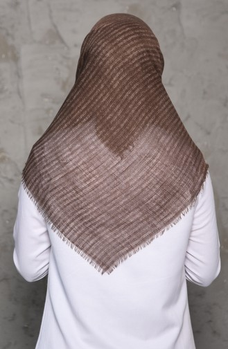 Striped Patterned Flamed Cotton Shawl 2199-11 light mink 2199-11