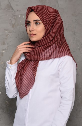 Striped Patterned Flamed Cotton Shawl 2199-14 dry rose 2199-14