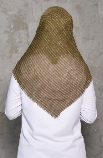 Striped Patterned Flamed Cotton Shawl 2199-15 light khaki 2199-15