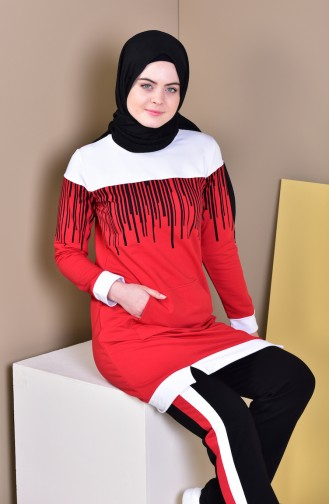 بدلة رياضية 1418-01 لون احمر واسود 1418-01