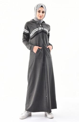 BWEST Hooded Sportswear Abaya 8353-03 Anthracite 8353-03