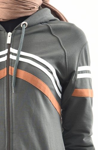 BWEST Hooded Sportswear Abaya 8353-05 Khaki 8353-05