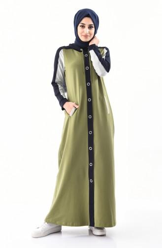 BWEST Hooded Sportswear Abaya 8364-01 Oil Green 8364-01