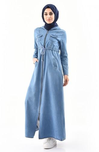 Abaya Jean a Capuche 4031-01 Bleu Jean 4031-01