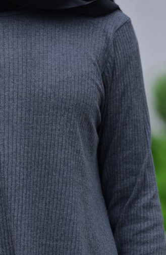 طقم تونيك وبنطال بتصميم تريكو مطاط 3309-04 لون أسود مائل للرمادي 3309-04