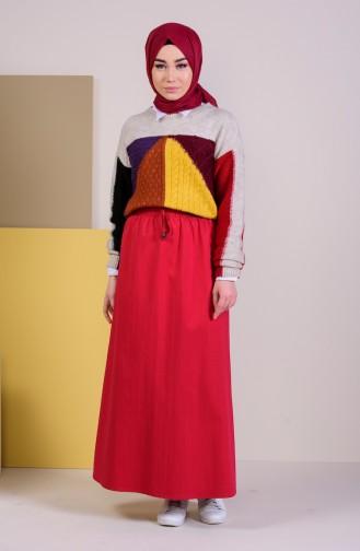 DURAN Elastic Waist Skirt 1201A-03 Red 1201A-03